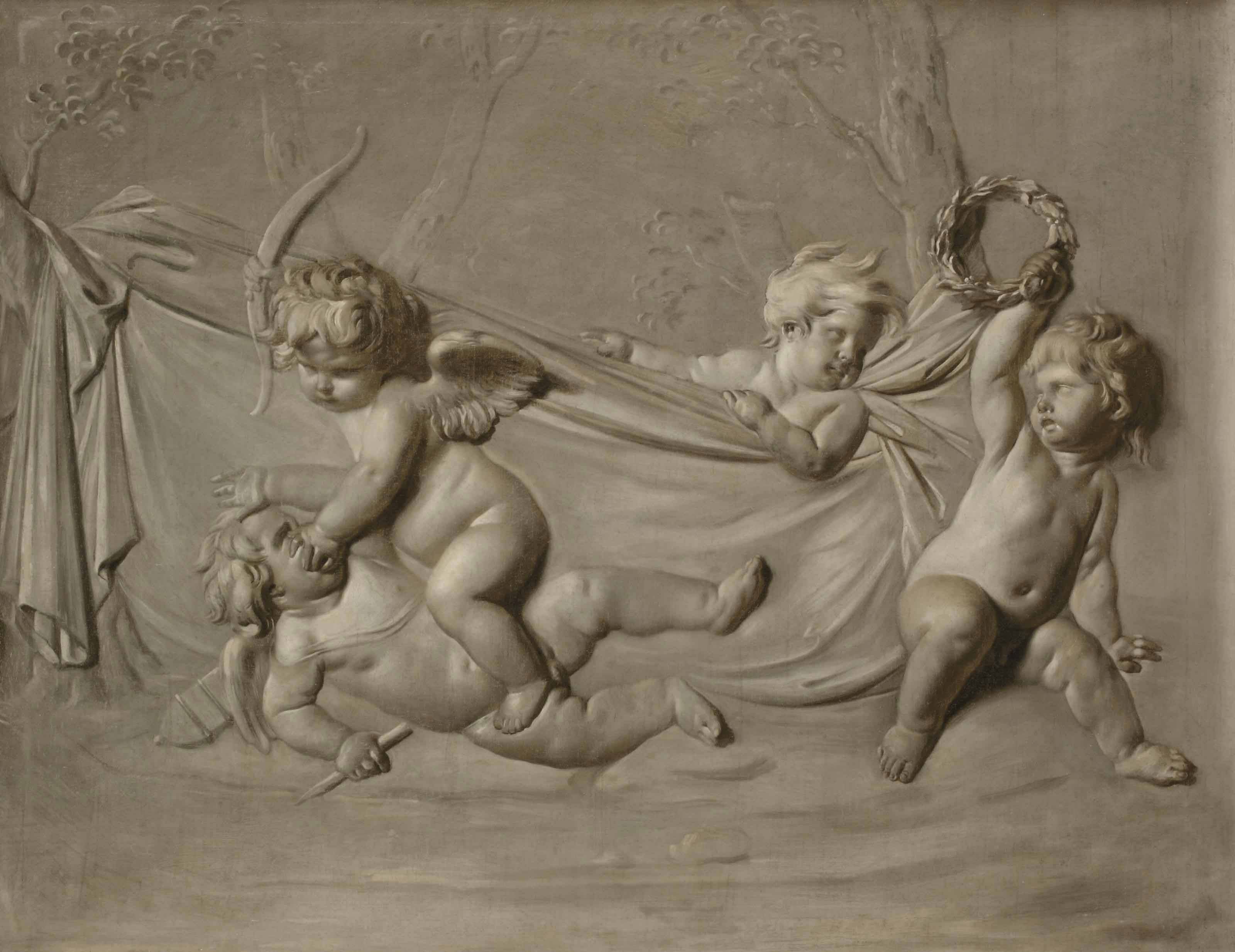 Putti playing games, 'en grisaille'