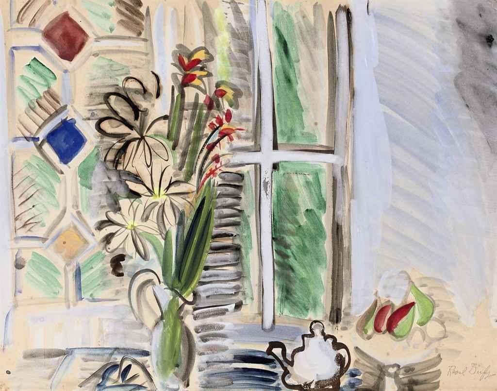 Raoul Dufy 1877 1953 Bouquet De Fleurs Devant La Fenetre 20th