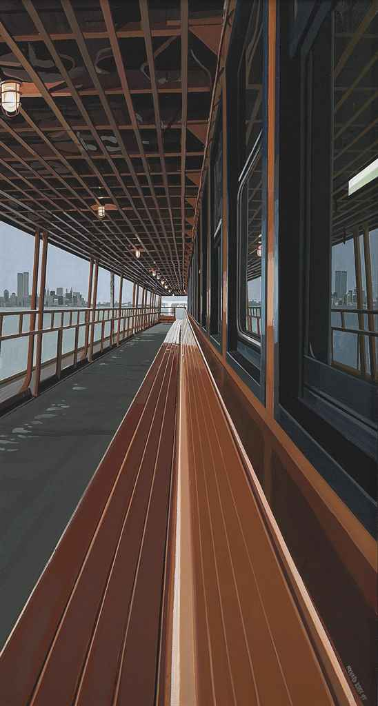 Deck of Staten Island Ferry with View of Manhattan