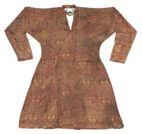 A BRIGHTLY COLOURED SELJUK SILK LAMPAS ROBE