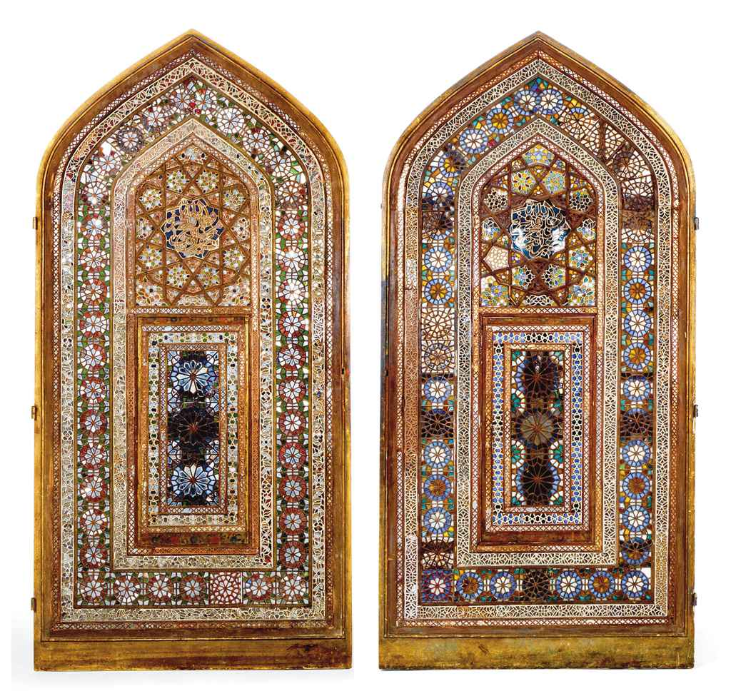 TWO QAJAR PART MIRRORED GLASS