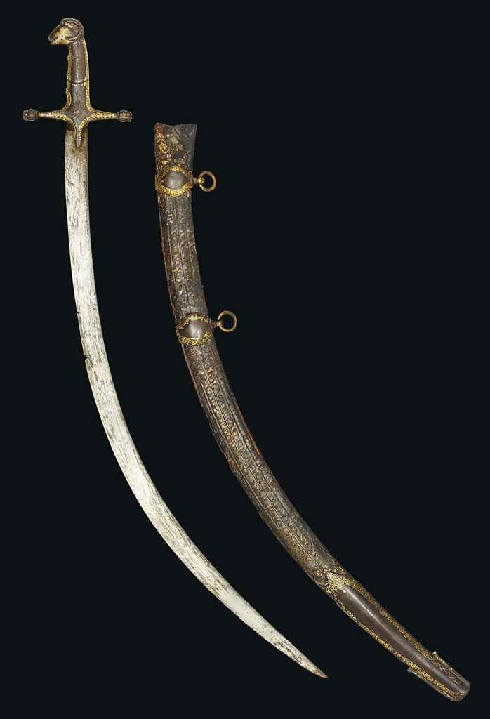 A GOLD DAMASCENED SWORD