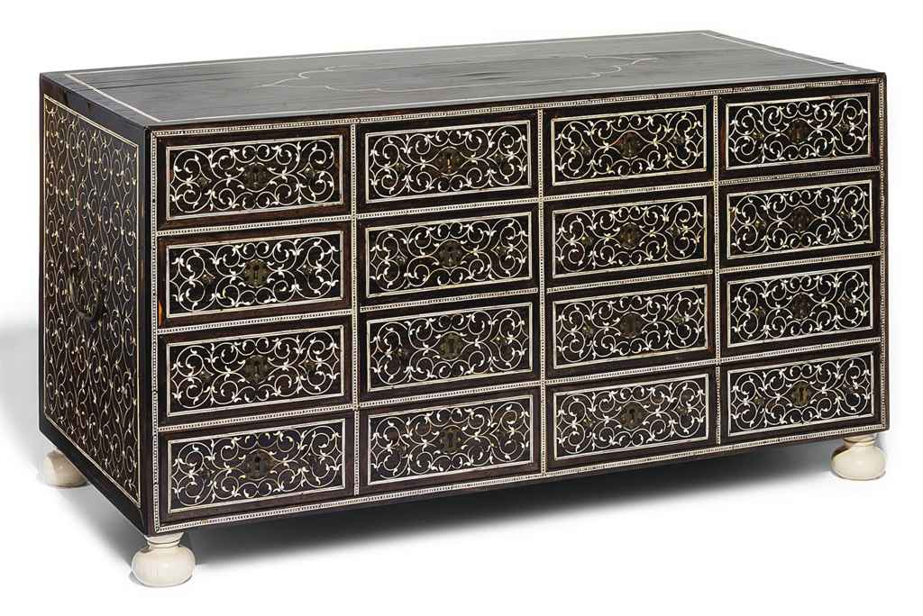 A LARGE IVORY INLAID CABINET
