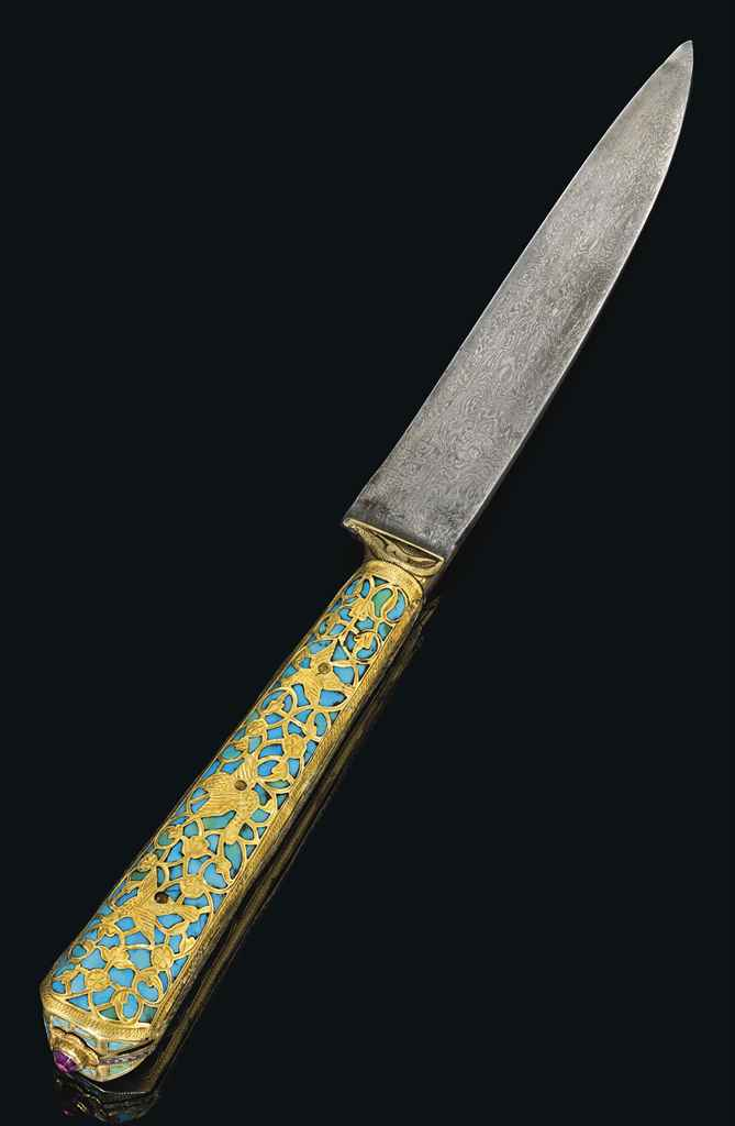 A GOLD AND TURQUOISE-HILTED KN
