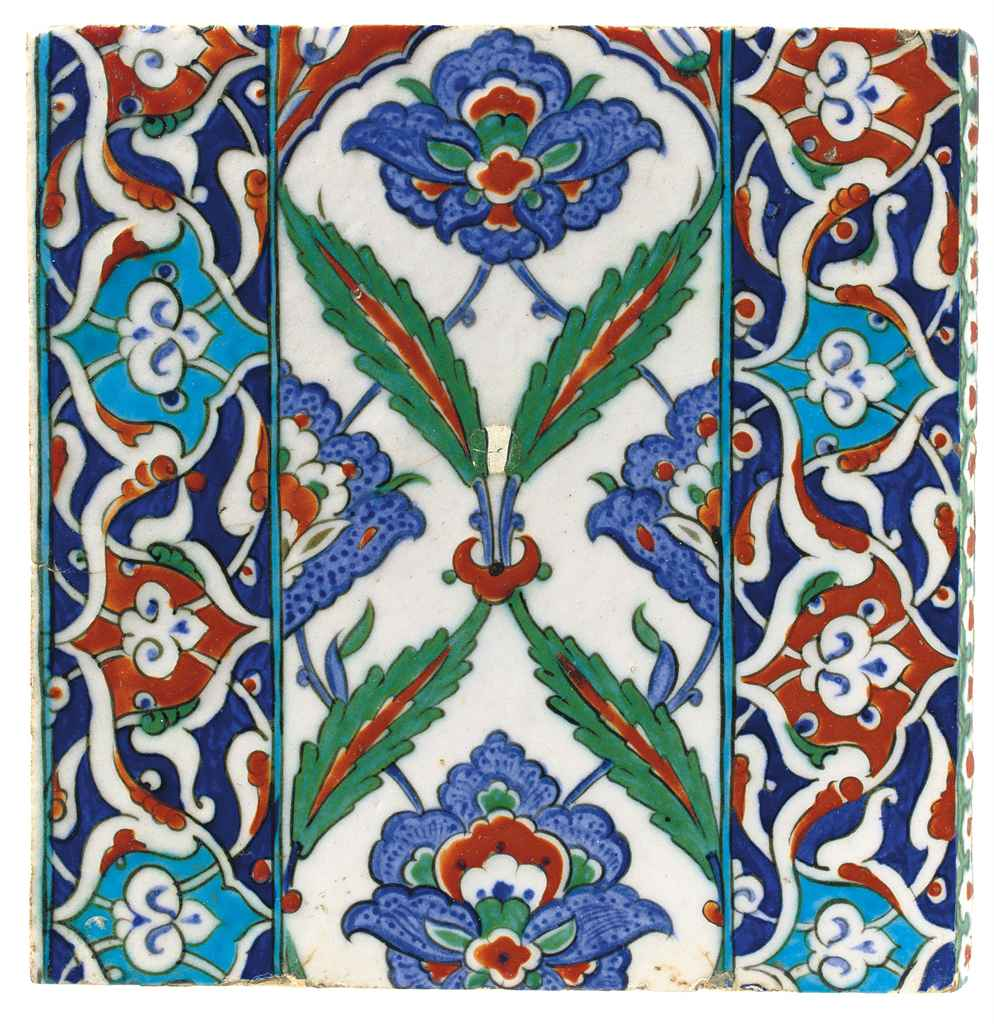 AN IZNIK POTTERY EDGING TILE