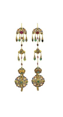 A PAIR OF MOROCCAN GEMSET GOLD