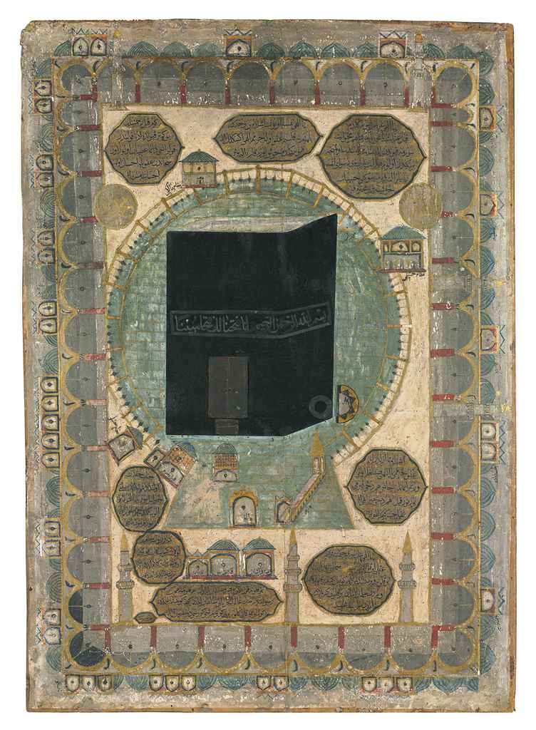 A LARGE PAINTED PANEL DEPICTIN