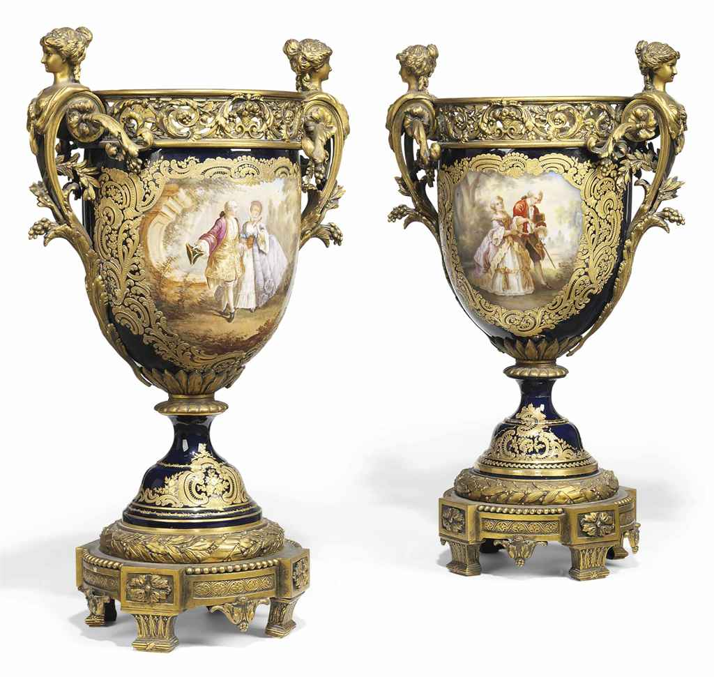 A PAIR OF ORMOLU-MOUNTED SEVRES-STYLE COBALT-BLUE GROUND