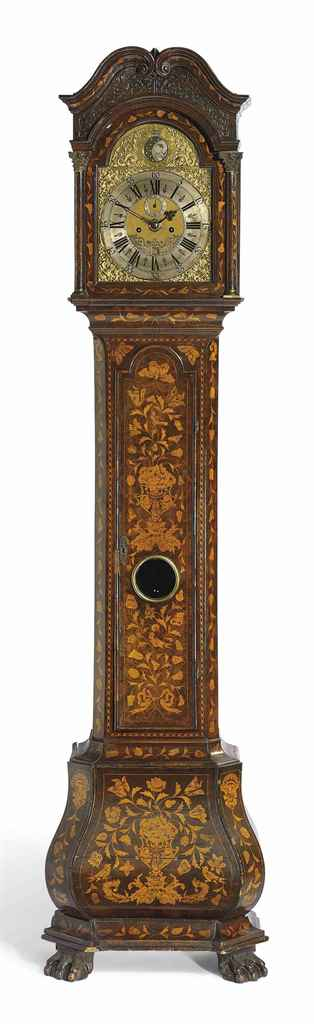 A DUTCH WALNUT AND FLORAL MARQUETRY STRIKING EIGHT DAY LONGCASE CLOCK WITH MOONPHASE AND ALARM