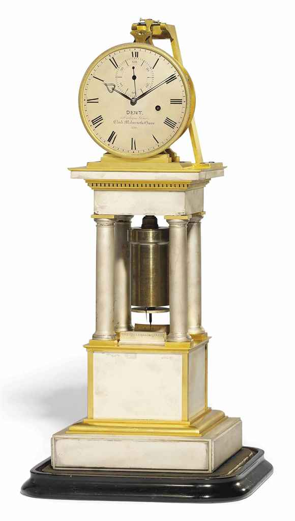 A VICTORIAN SILVERED AND GILT-BRASS EIGHT DAY TABLE REGULATOR WITH REMONTOIRE