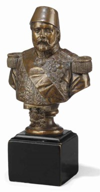 A FRENCH PATINATED BRONZE BUST OF ISMAIL PASHA, KHEDIVE OF EGYPT