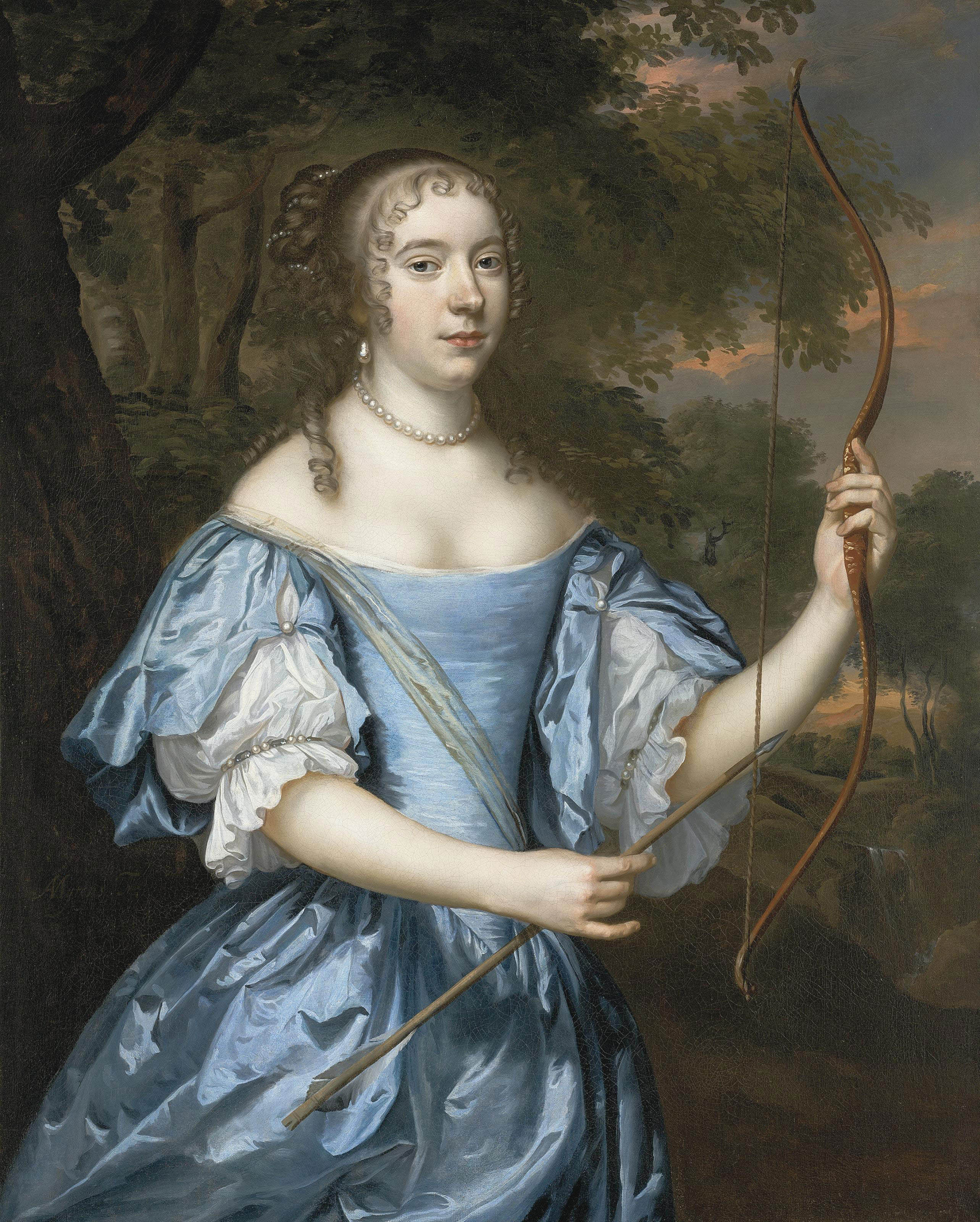 Portrait of a lady as Diana, three-quarter-length, in a blue dress with pearls, holding a bow in her left hand and an arrow in her right, in a landscape
