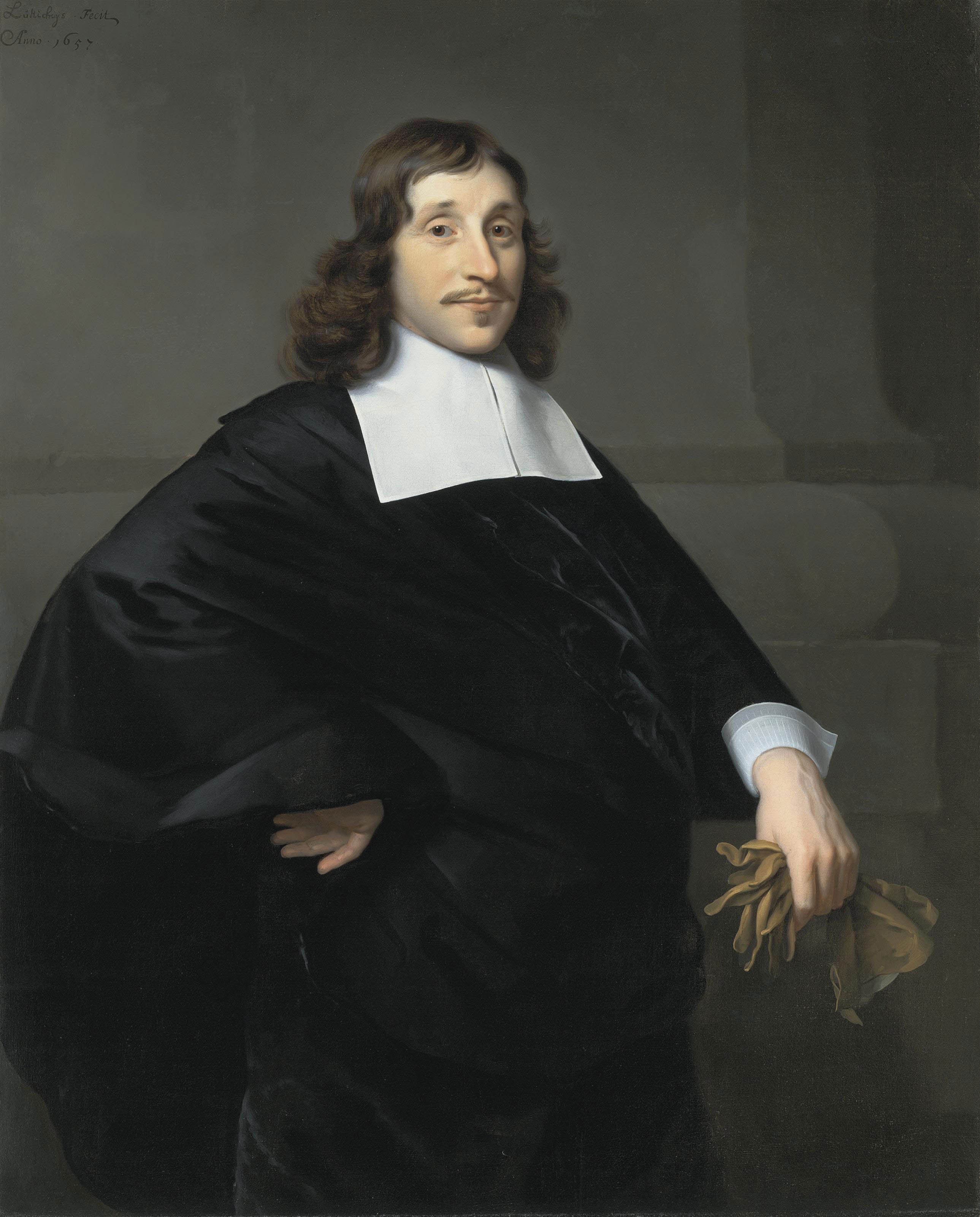 Portrait of a gentleman, traditionally identified as Dirk van Collen, Lord of Bredelar, three-quarter-length, in a black coat with a white collar and cuffs, a pair of gloves in his left hand