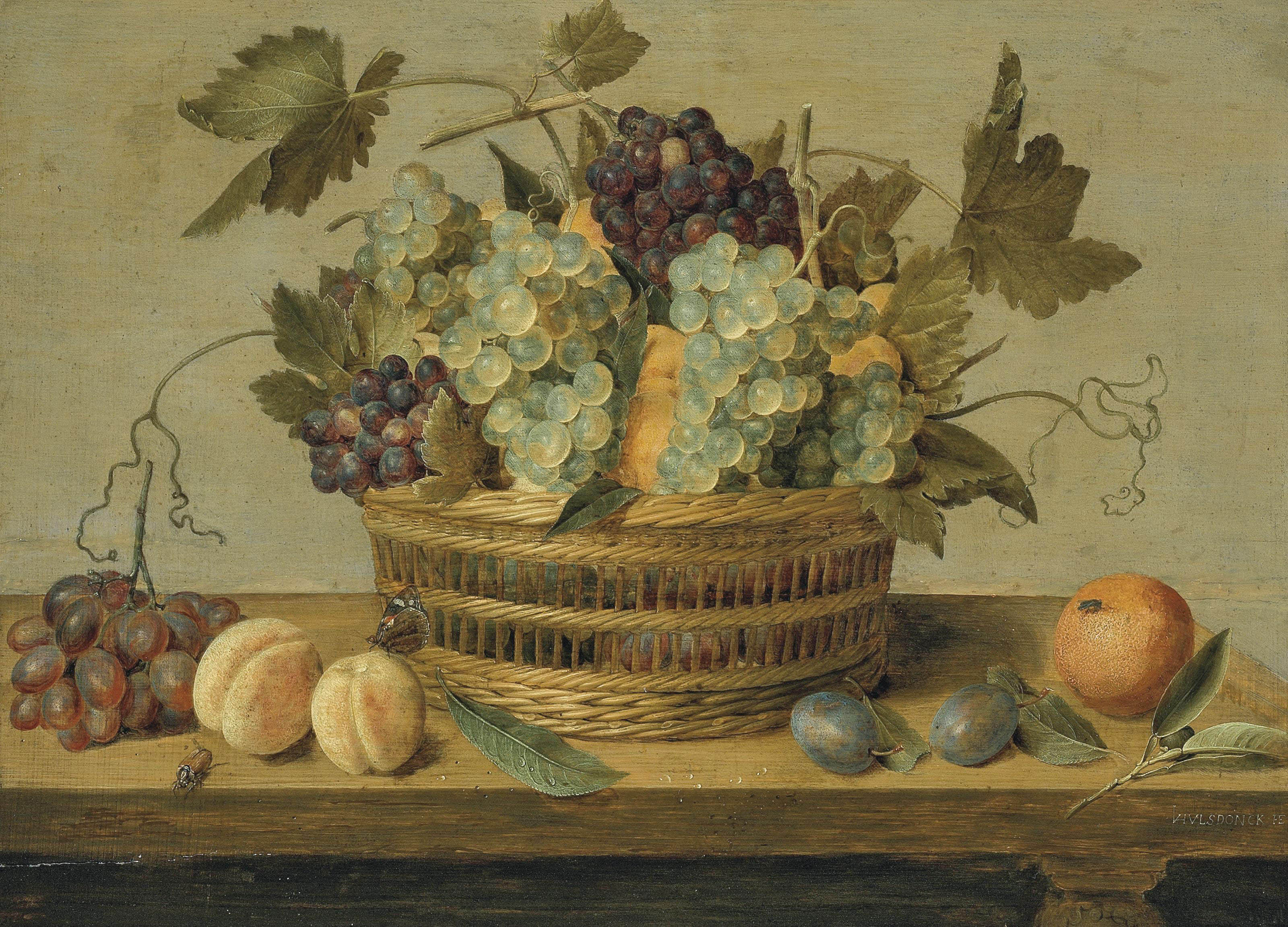 Nectarines and grapes in a basket on a table, with plums, oranges, a butterfly and a beetle