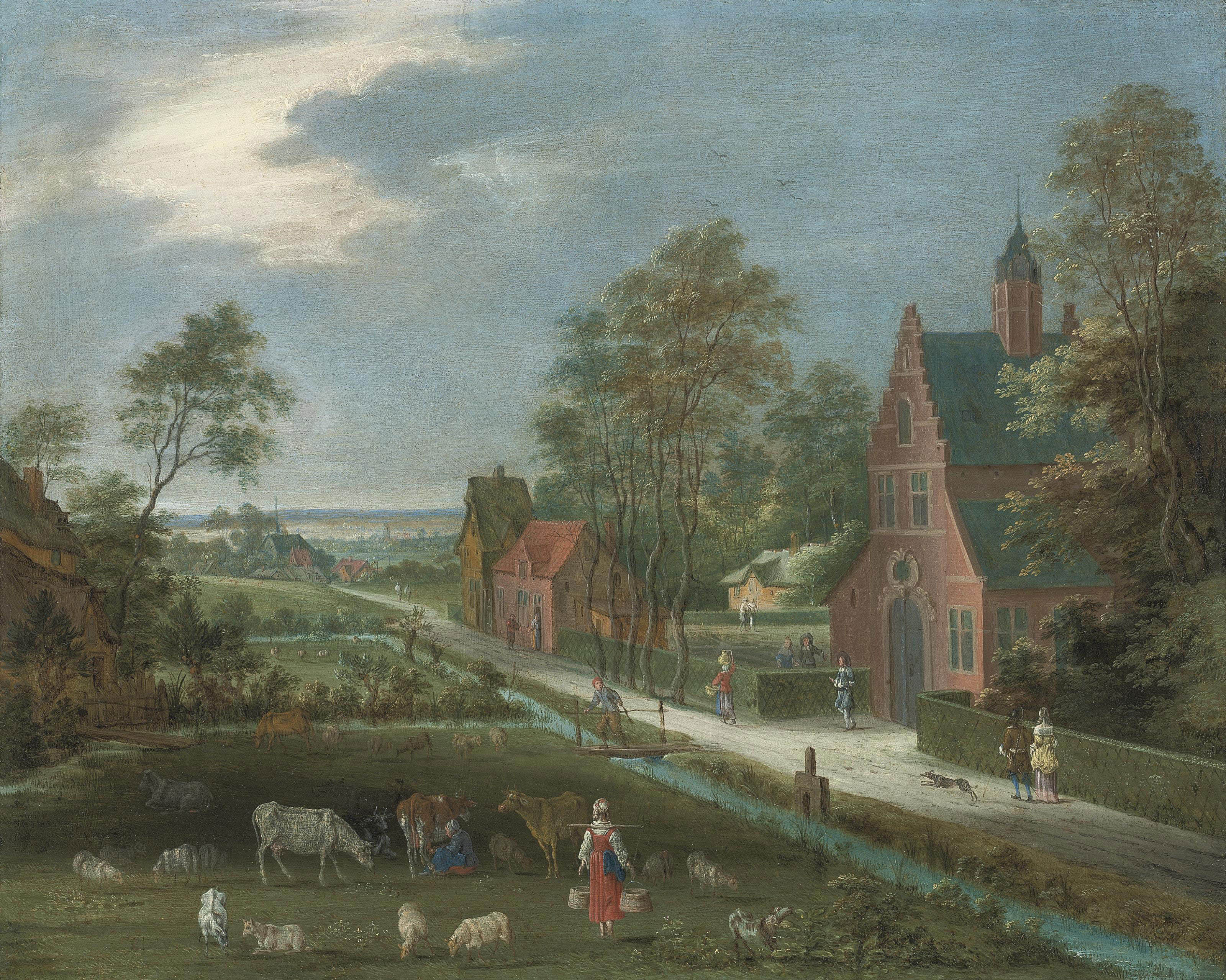 A village landscape with a milkmaid, cattle and other figures