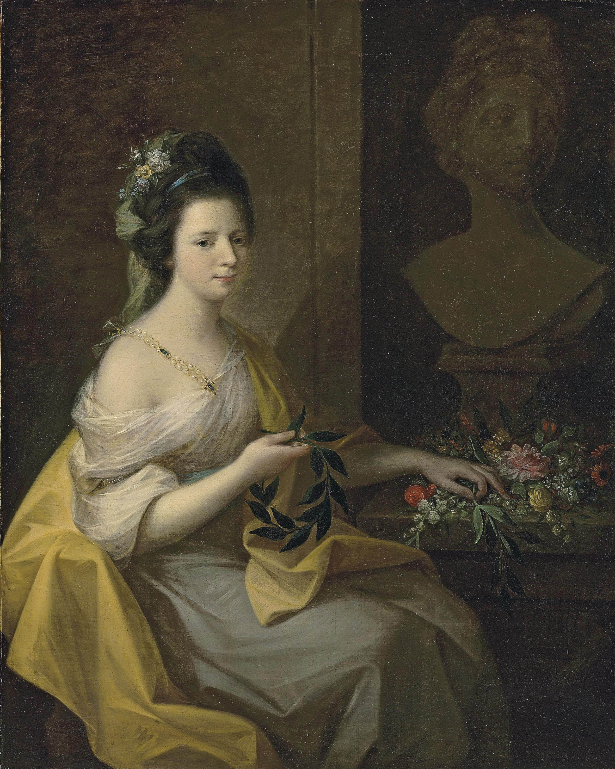 Portrait of lady, believed to be Elizabeth Muncaster, née Dale, three-quarter-length, in a dress with a pearl clasp and a yellow mantle, flowers in her hair, holding a laurel wreath, before a bust of the Apollo Belvedere