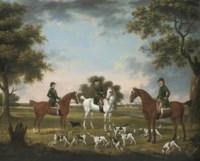 Huntsmen and hounds in a wooded river landscape, kennels beyond
