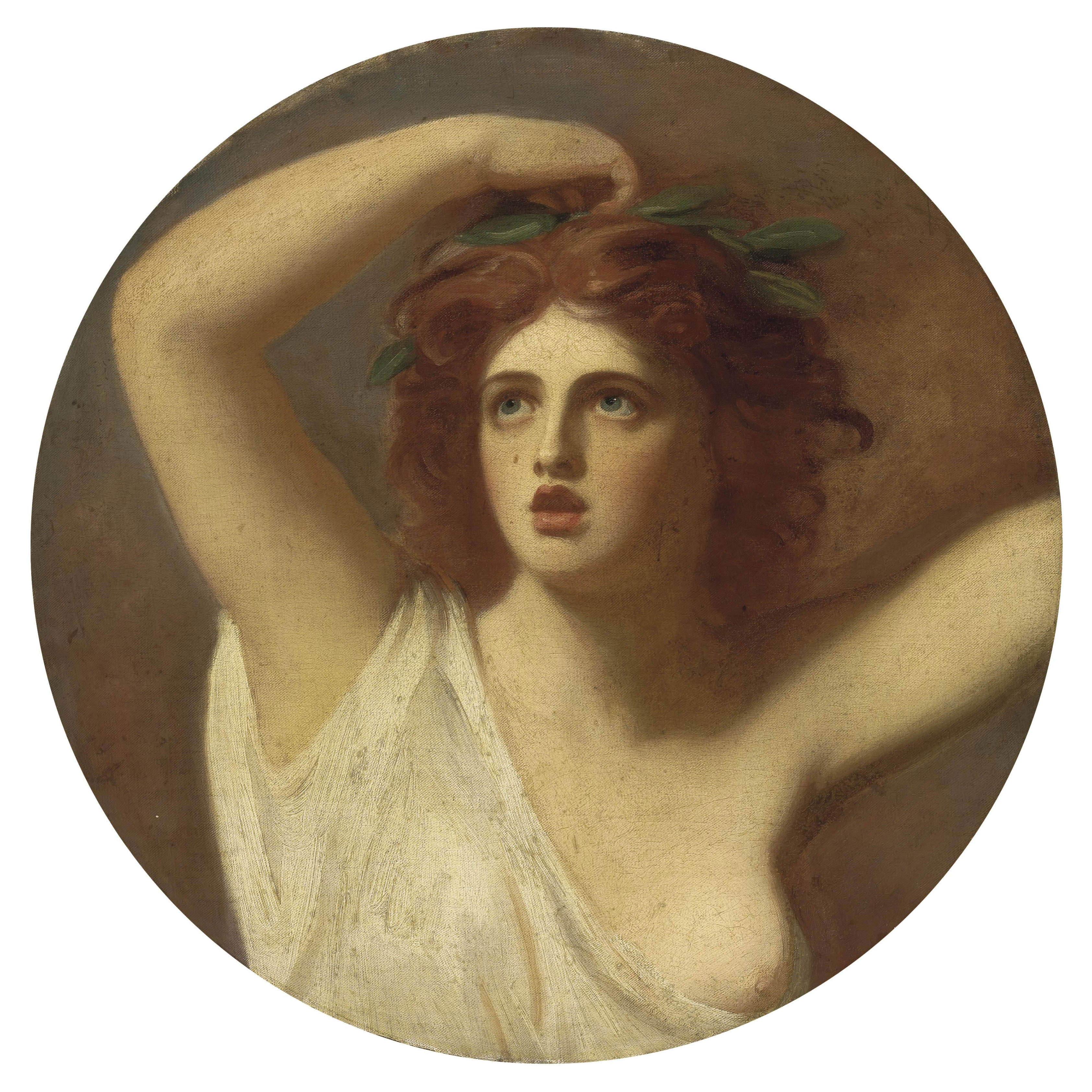 Portrait of Lady Emma Hamilton, as Cassandra, half length, in a white robe, a laurel wreath crowning her head