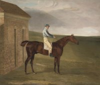 Burleigh, a chestnut racehorse, with Sam Chifney, at Newmarket