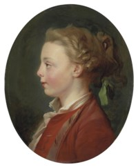 Portrait of a child, bust-length, in a red coat and white shirt, with a green ribbon