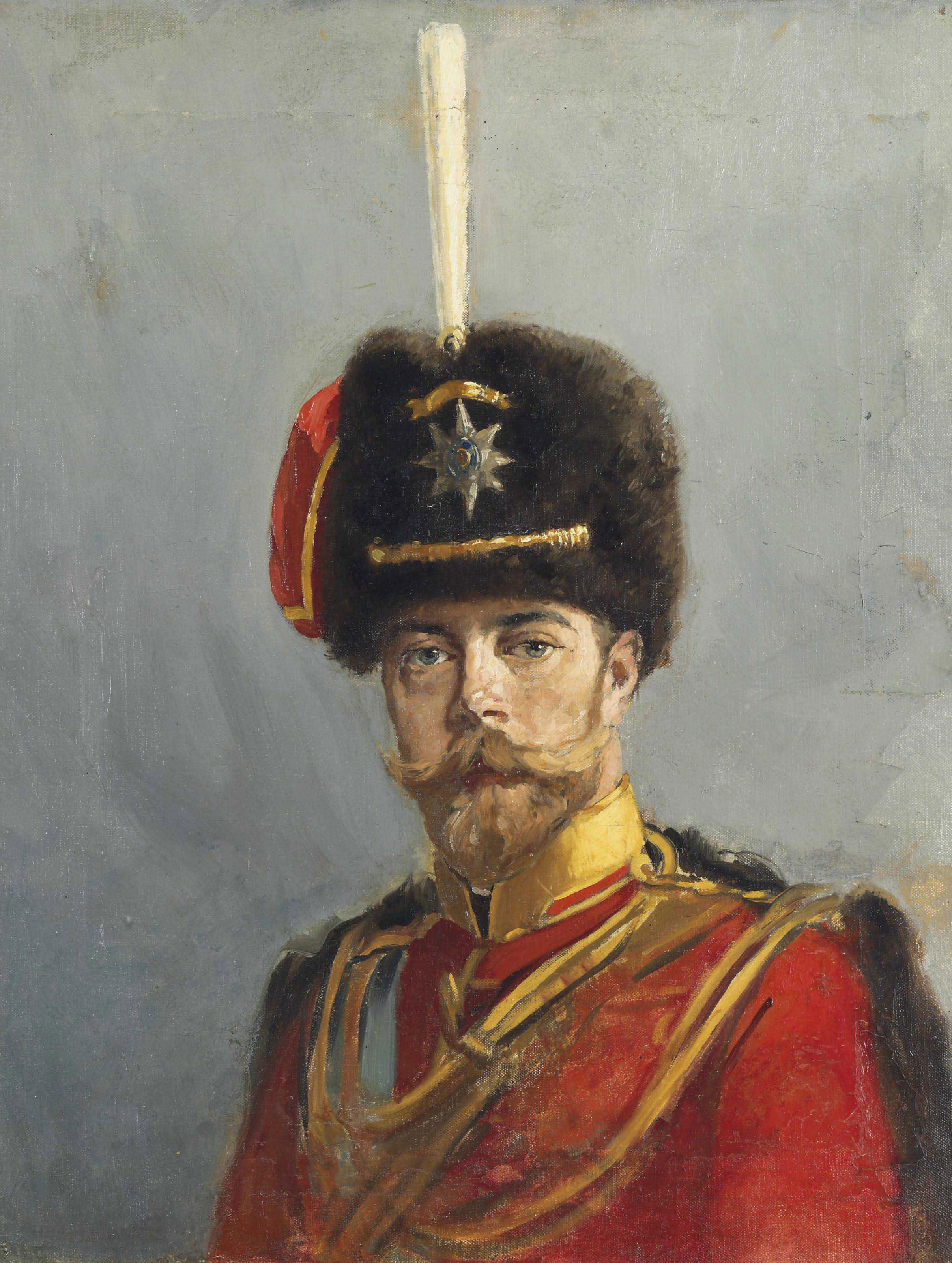Study for a portrait of Emperor Nicholas II, Chief of the Guard Hussar Regiment