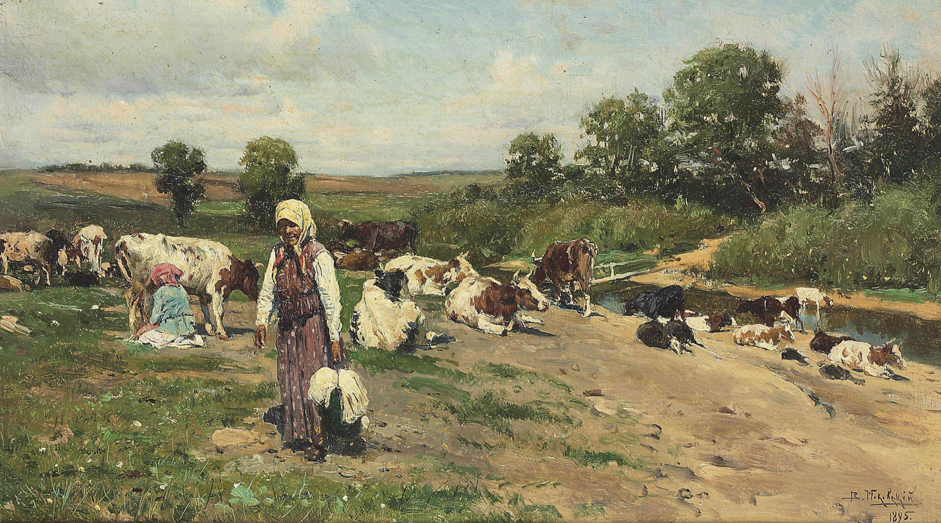 Herd by the river