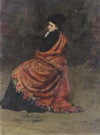 Study for A Parisian Café: A woman seated