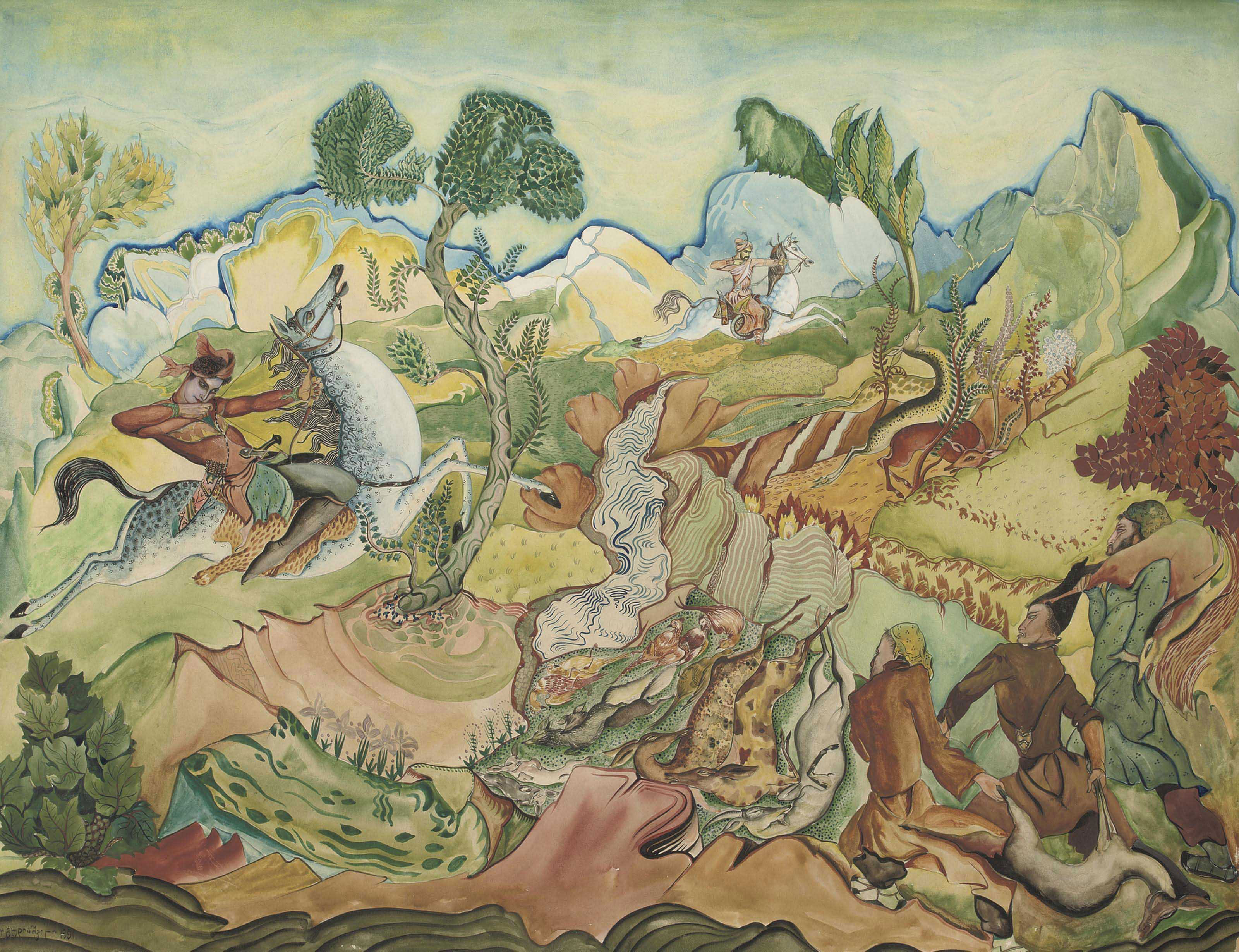 King Rostevan and Avtandil hunting