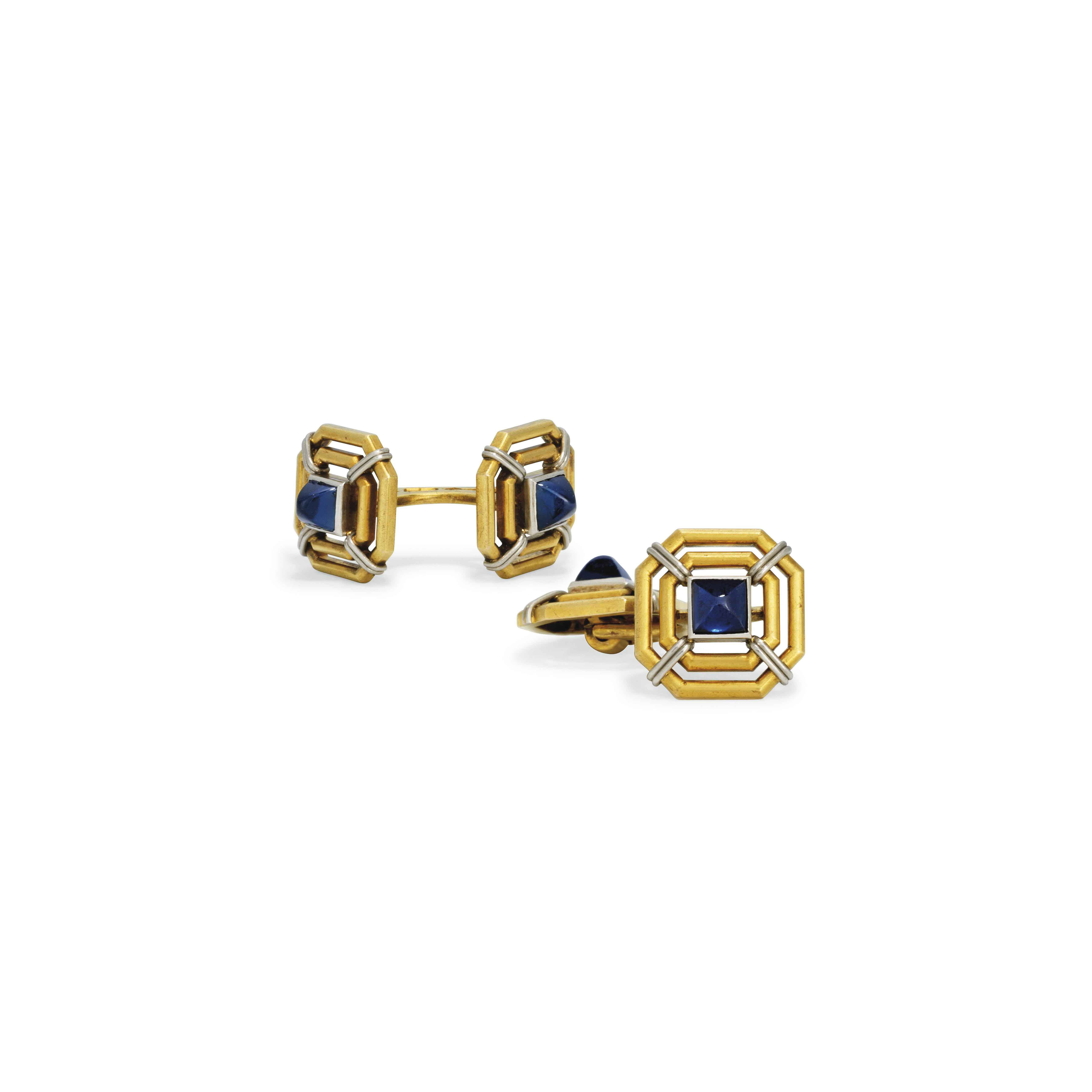 A PAIR OF JEWELLED GOLD AND PLATINUM CUFFLINKS