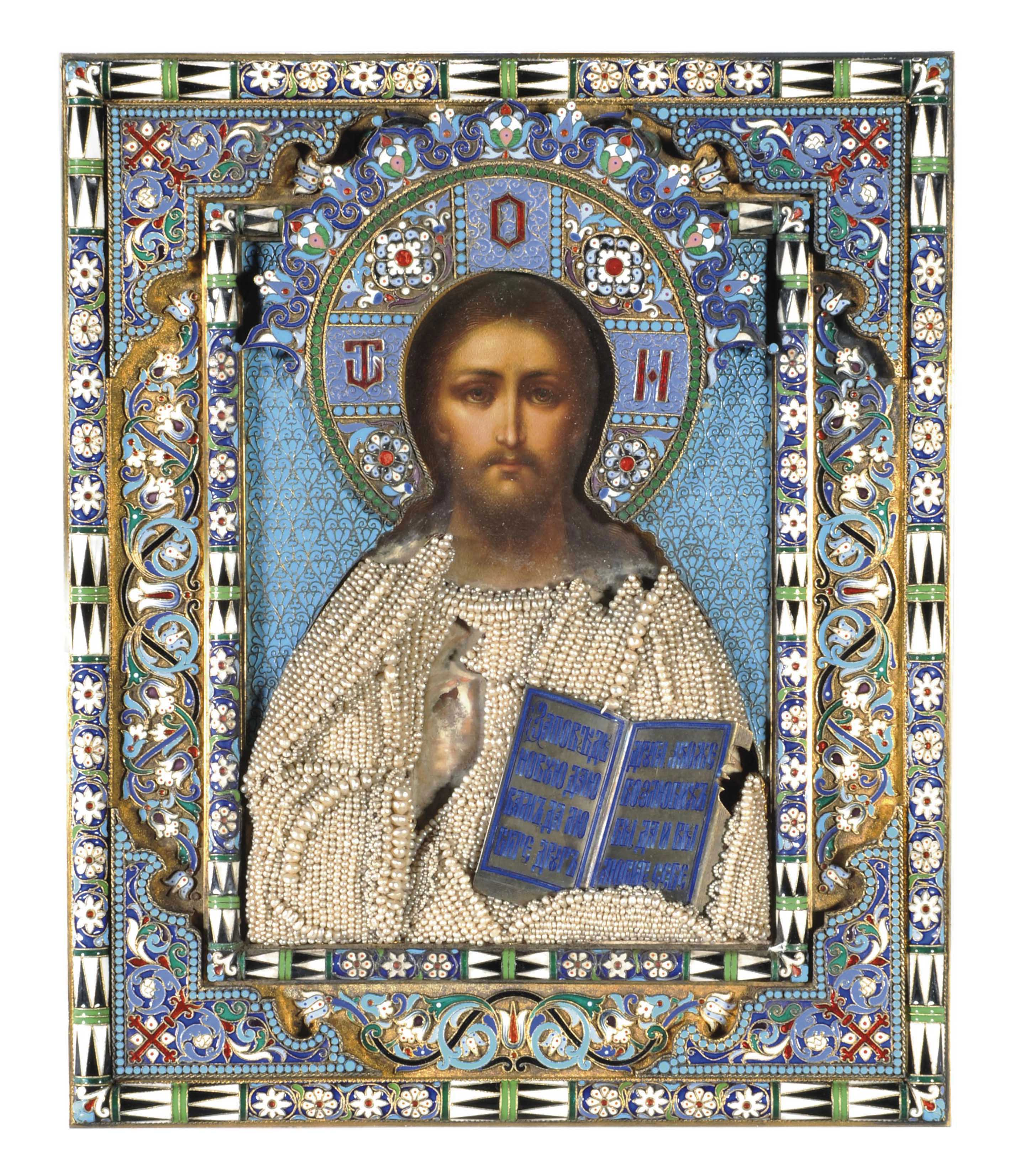 A SILVER-GILT AND CLOISONNÉ ENAMEL ICON OF CHRIST PANTOCRATOR
