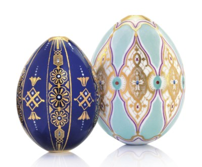 TWO PORCELAIN EGGS