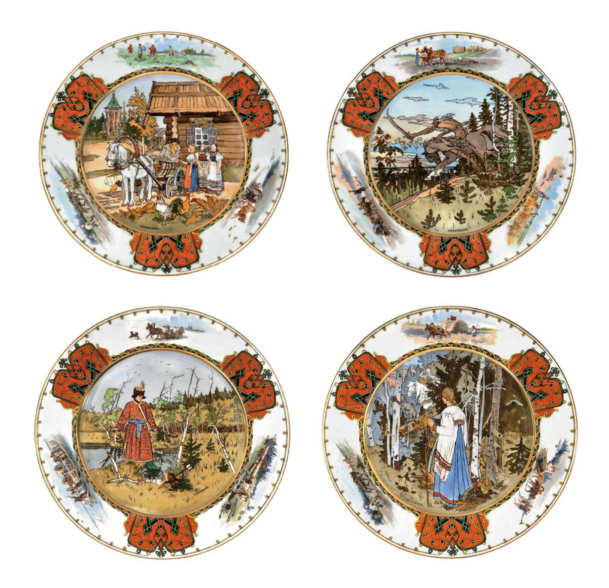 A SET OF FOUR PORCELAIN PLATES