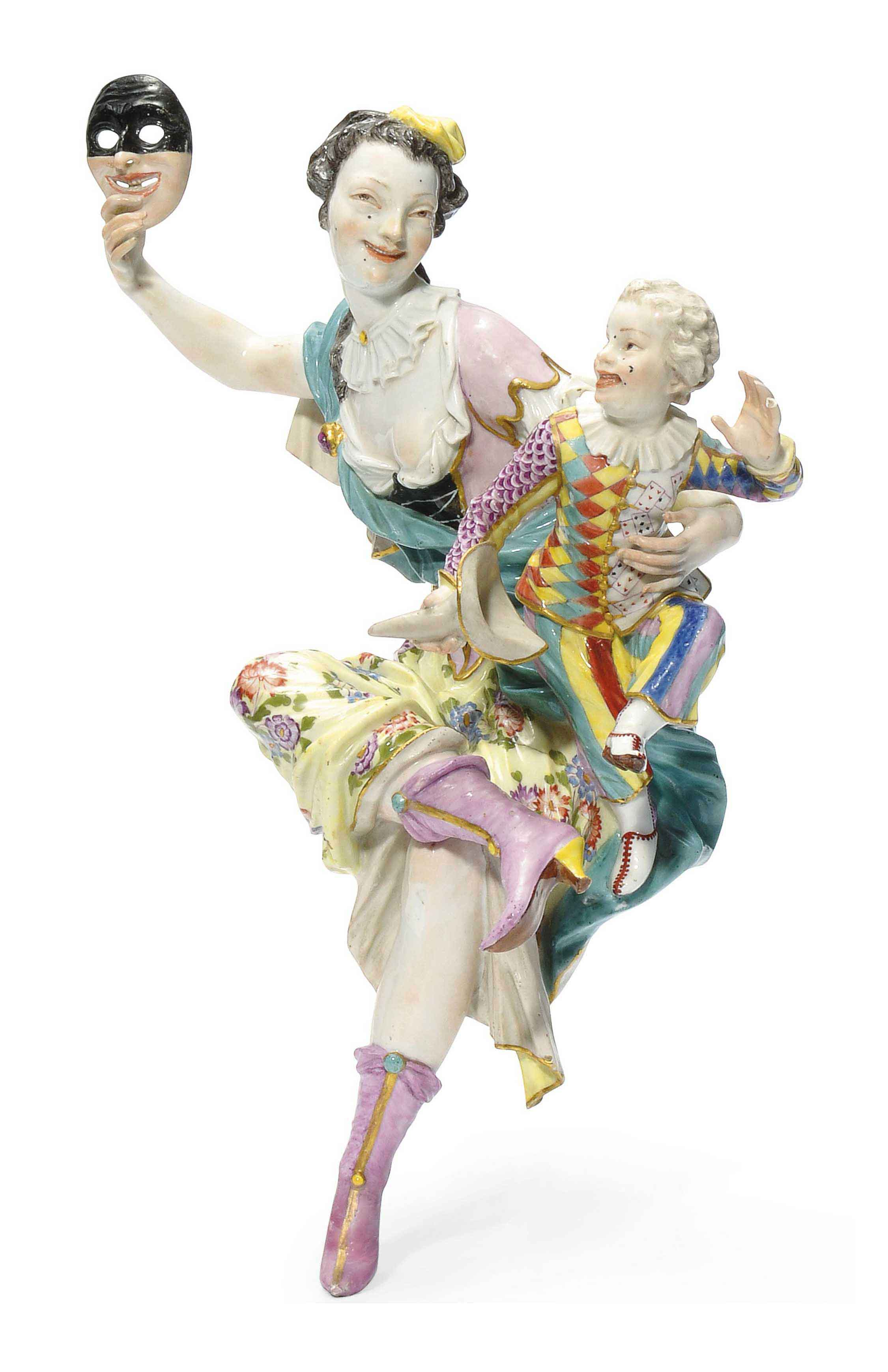 A MEISSEN GROUP OF A THALIA WITH A HARLEQUIN CHILD
