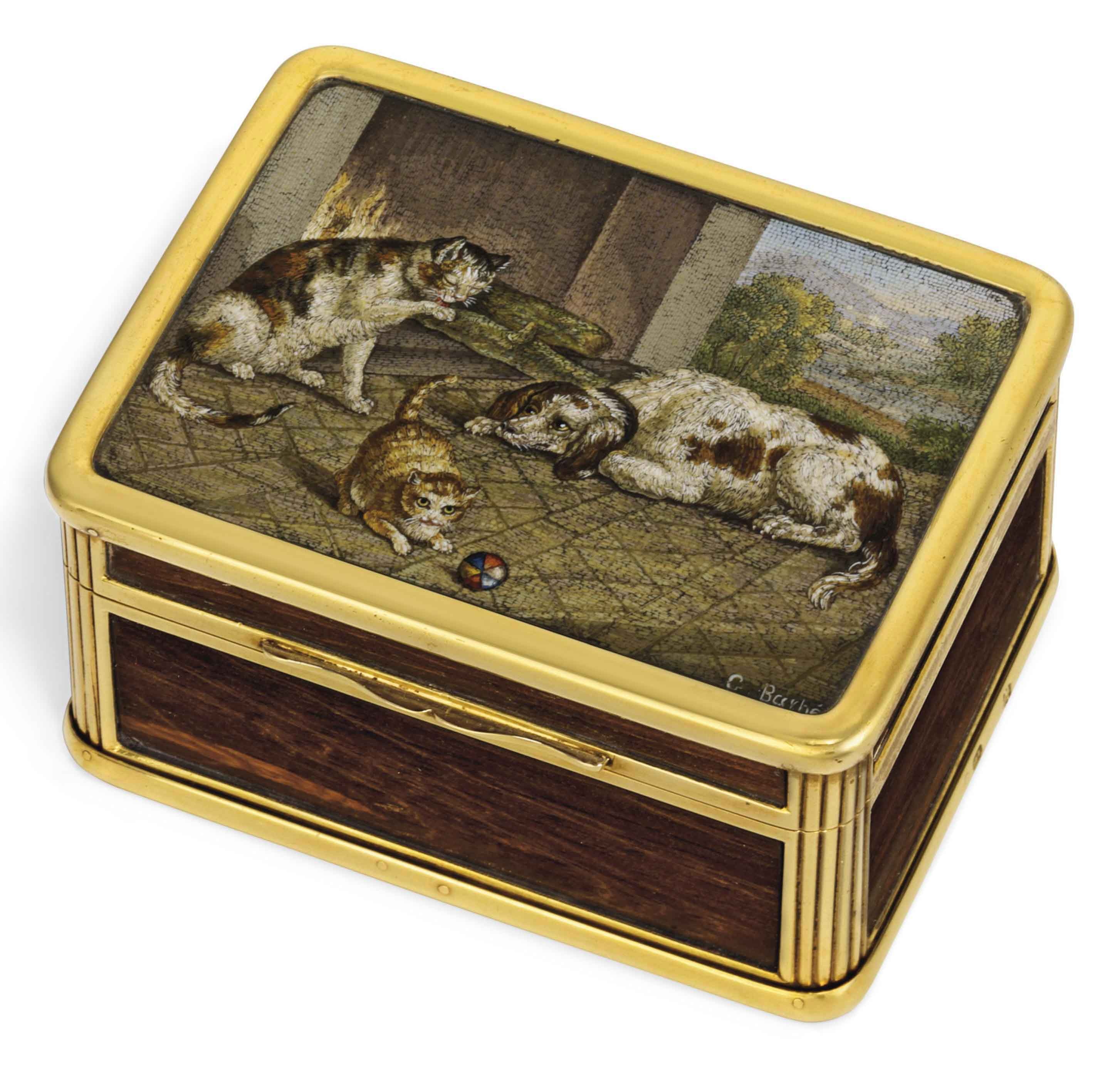A FINE VICTORIAN GOLD-MOUNTED WOOD SNUFF-BOX SET WITH A MICROMOSAIC