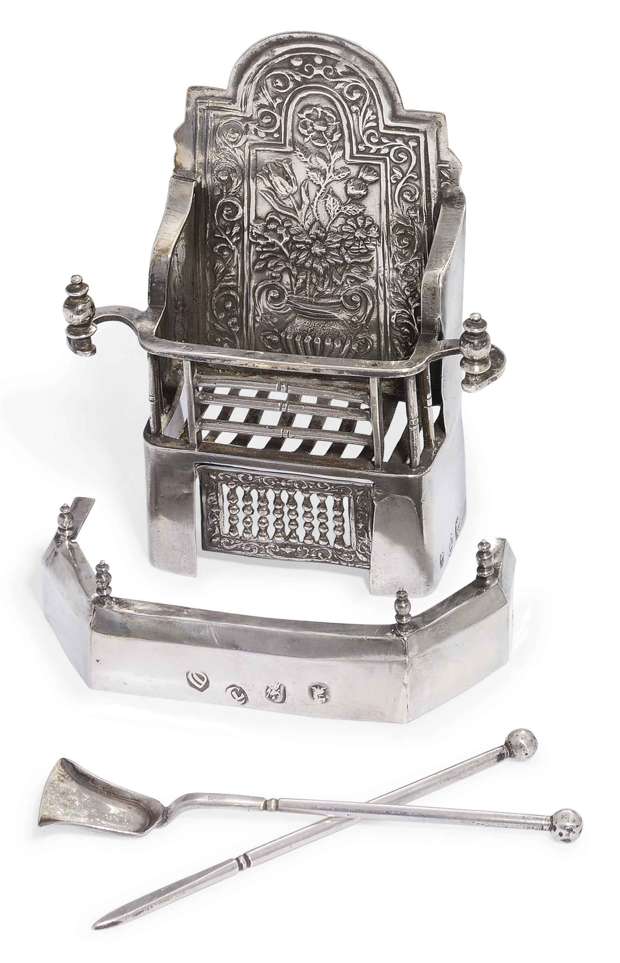 A RARE QUEEN ANNE SILVER MINIATURE TOY FIRE-GRATE AND FENDER