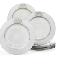 AN IMPORTANT SET OF TWELVE GEORGE II SILVER DINNER-PLATES FROM THE EARL OF WARRINGTON SERVICE