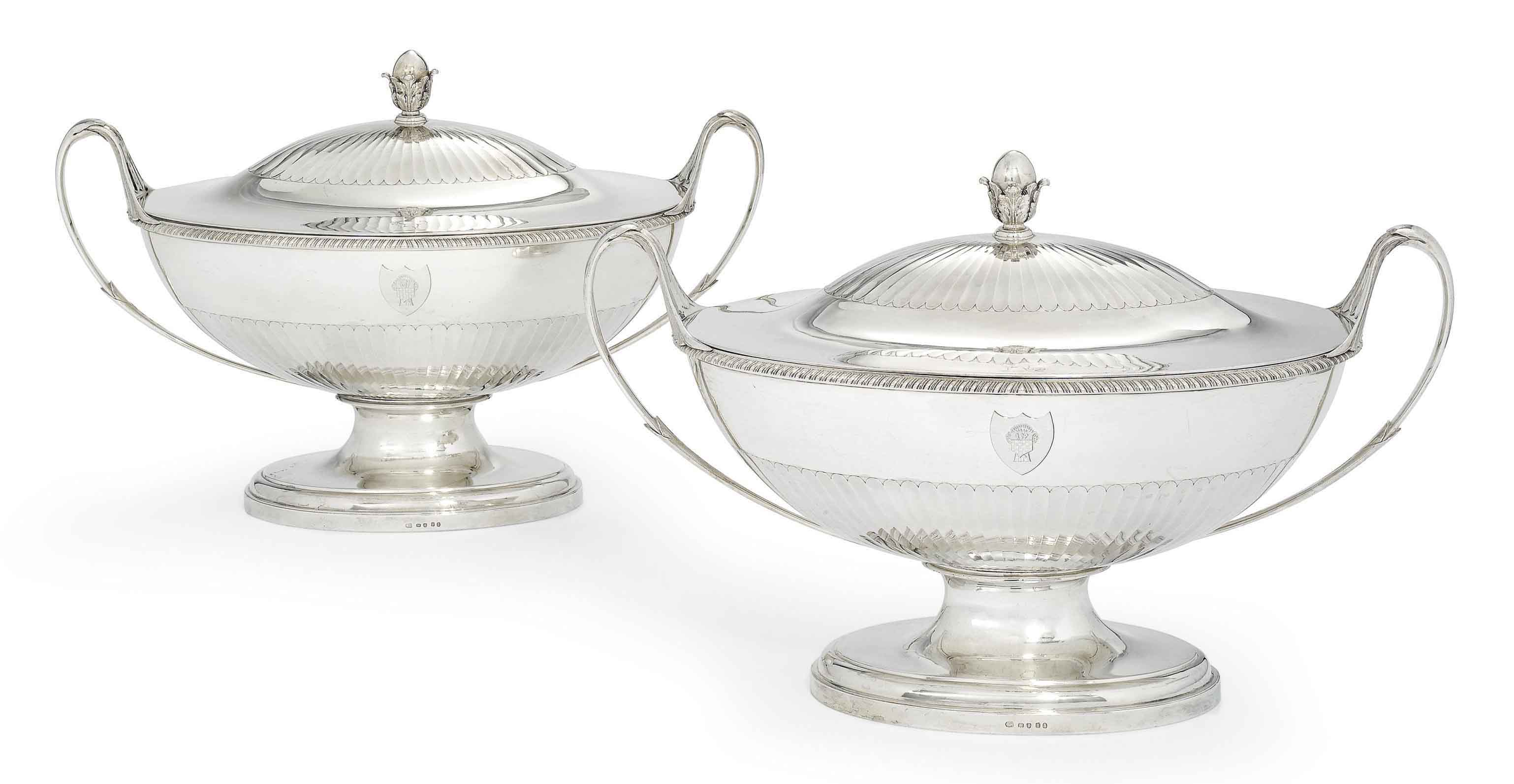 A PAIR OF GEORGE III SILVER SOUP-TUREENS