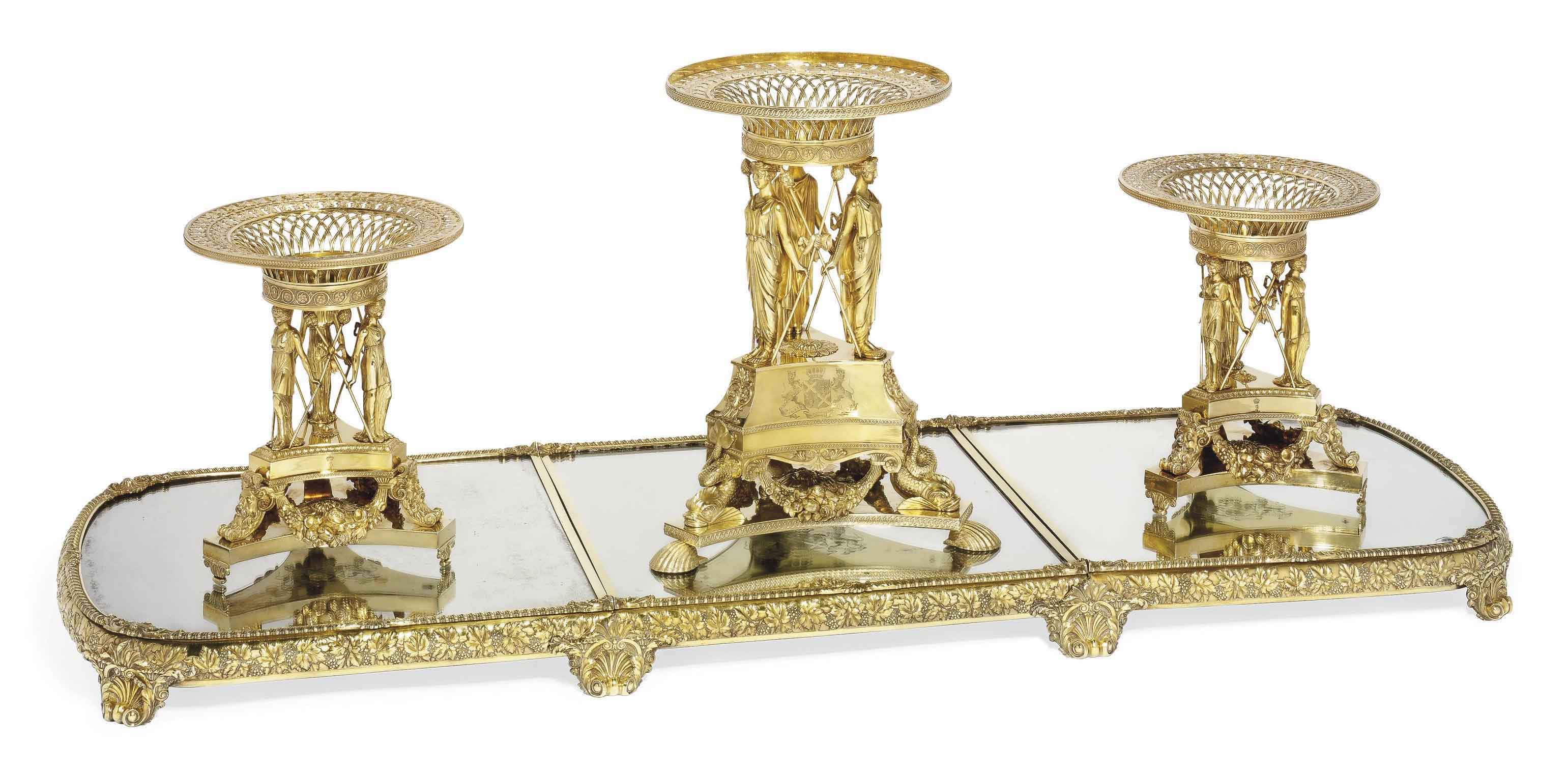 AN IMPORTANT GEORGE III SILVER-GILT SURTOUT-DE-TABLE