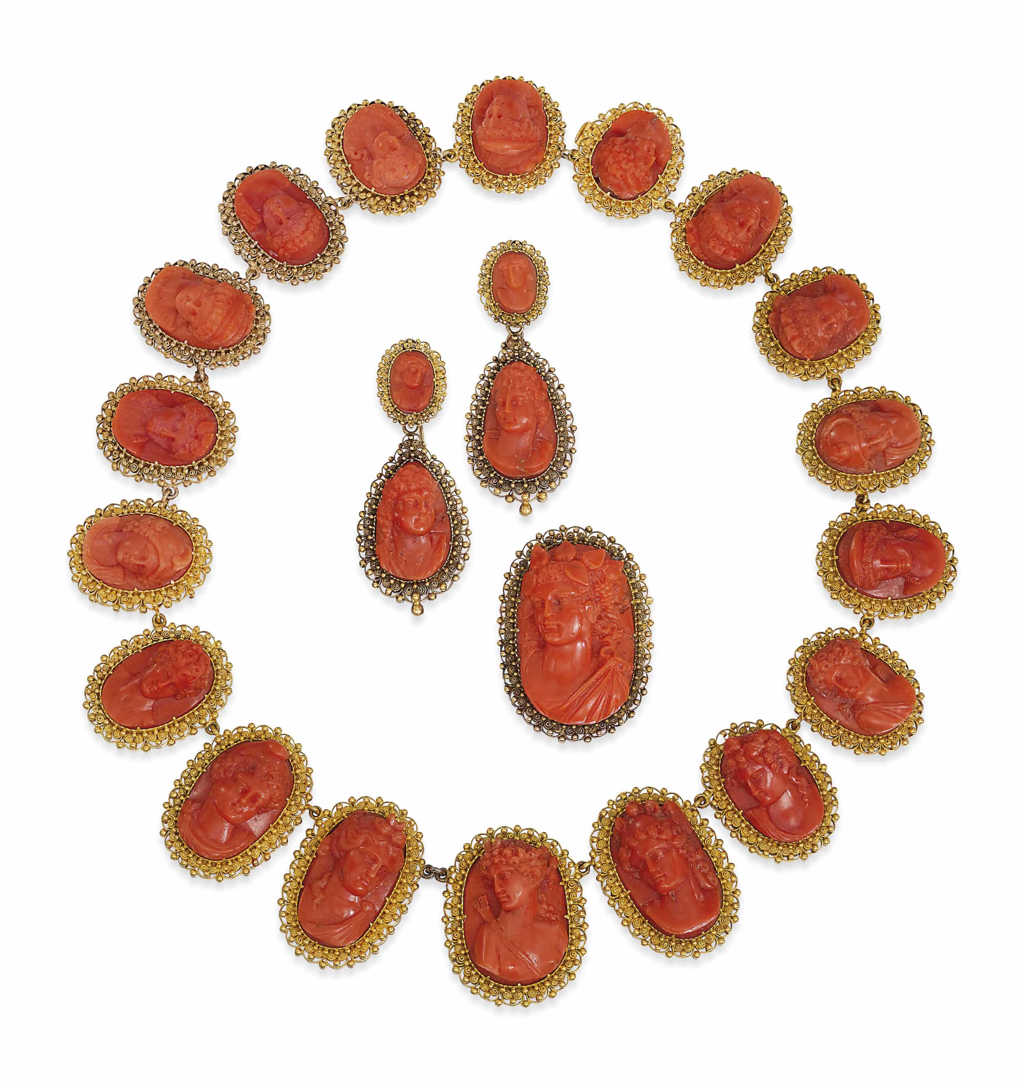 A SUITE OF EARLY 19TH CENTURY CORAL CAMEO JEWELLERY