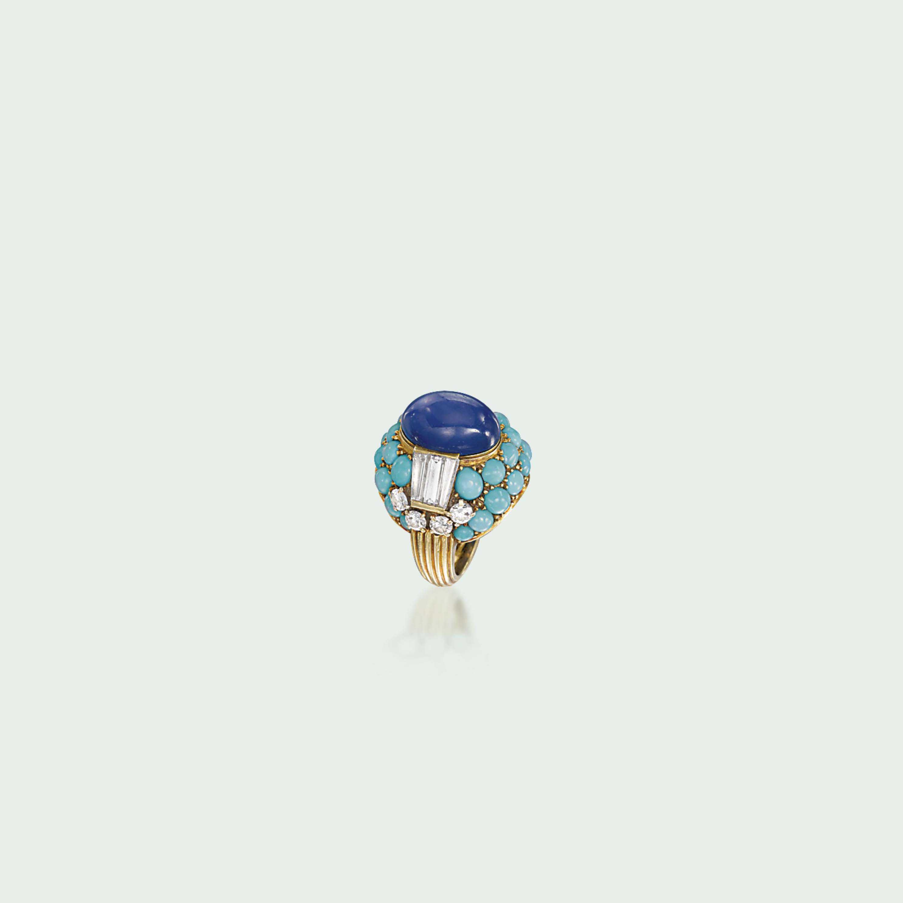 A STAR SAPPHIRE, TURQUOISE AND DIAMOND COCKTAIL RING, BY CARTIER