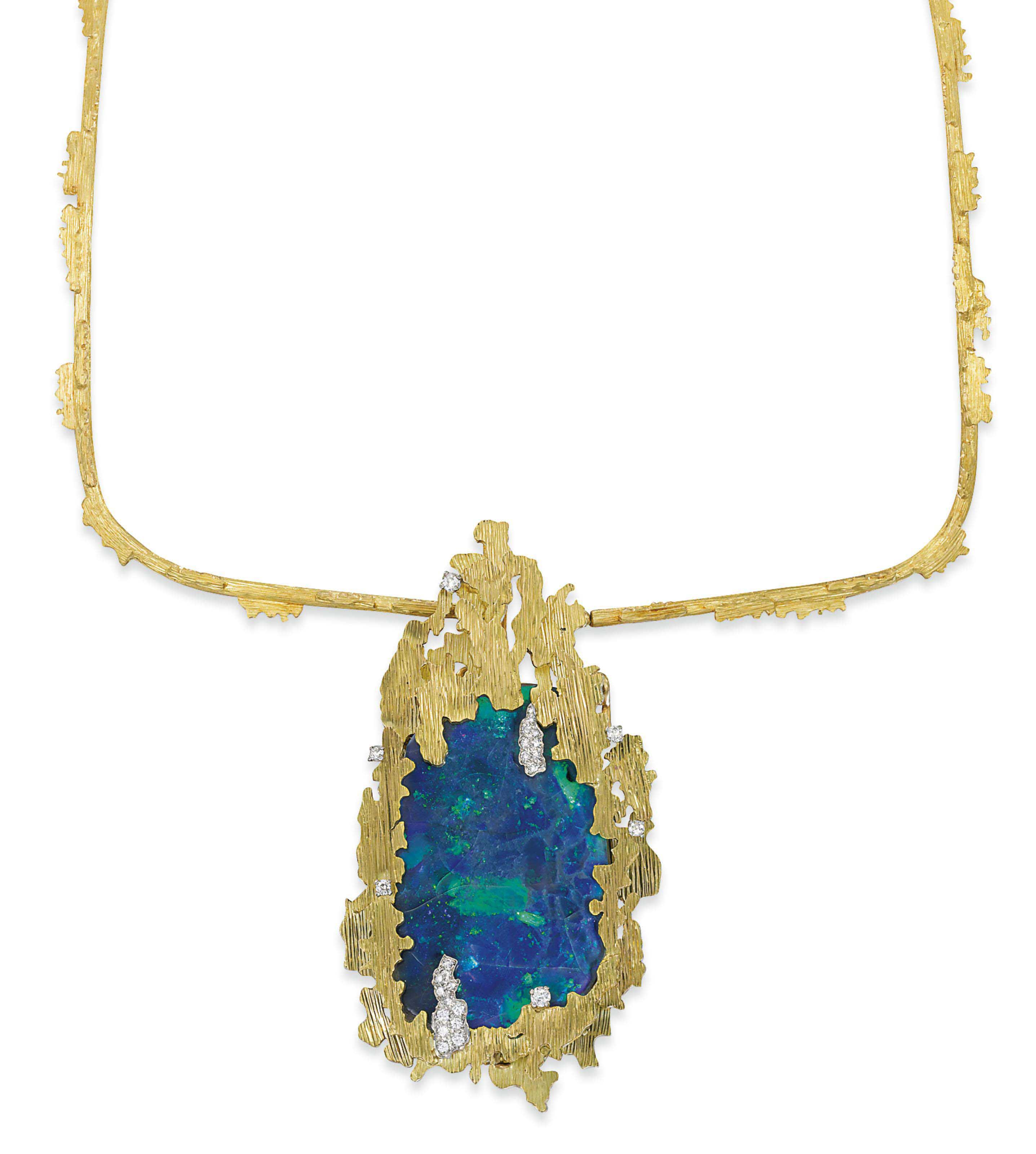 AN OPAL AND GOLD PENDENT NECKLACE, BY GRIMA
