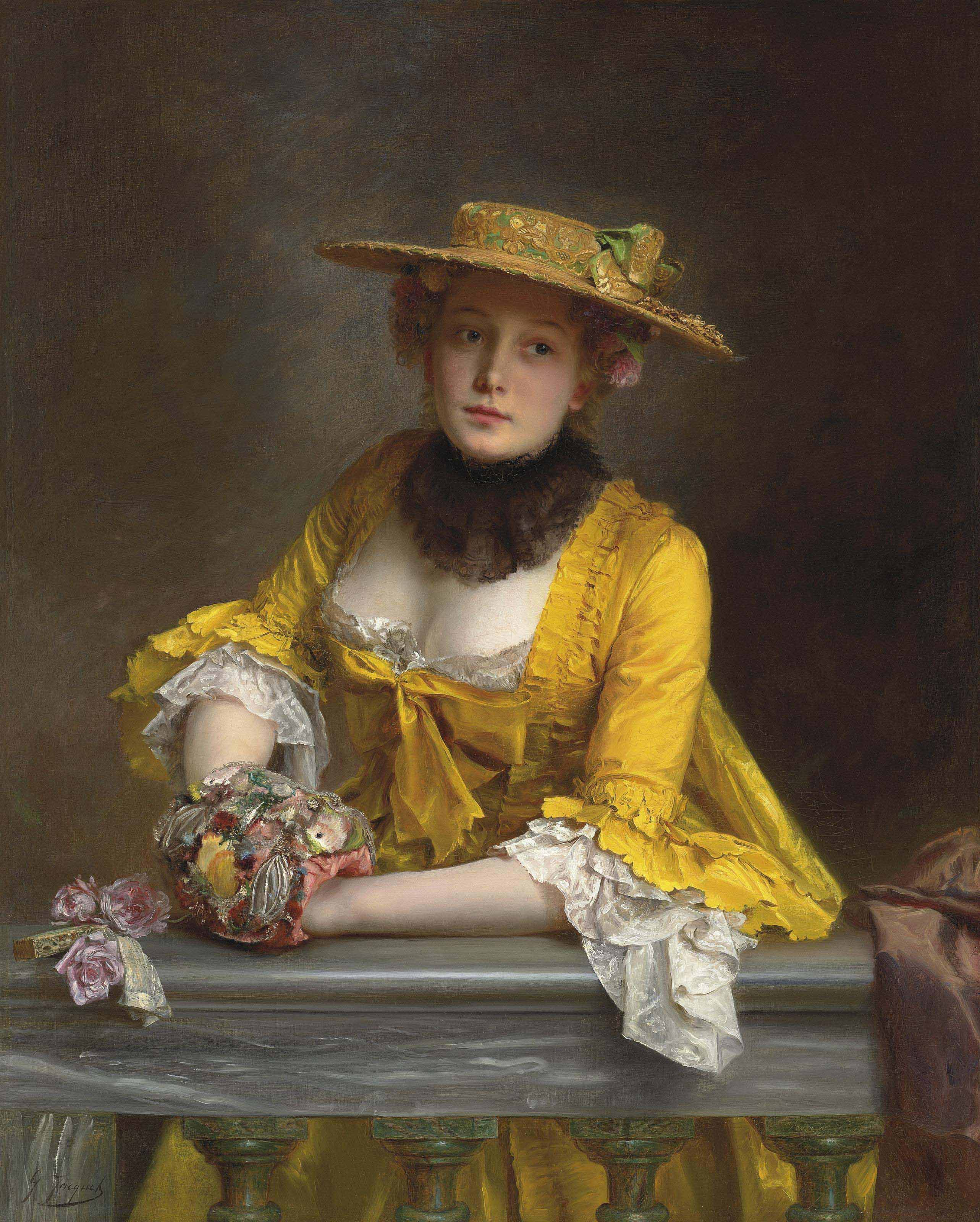Gustave-Jean Jacquet (French, 1846-1909) | The Yellow Dress | 19th ...