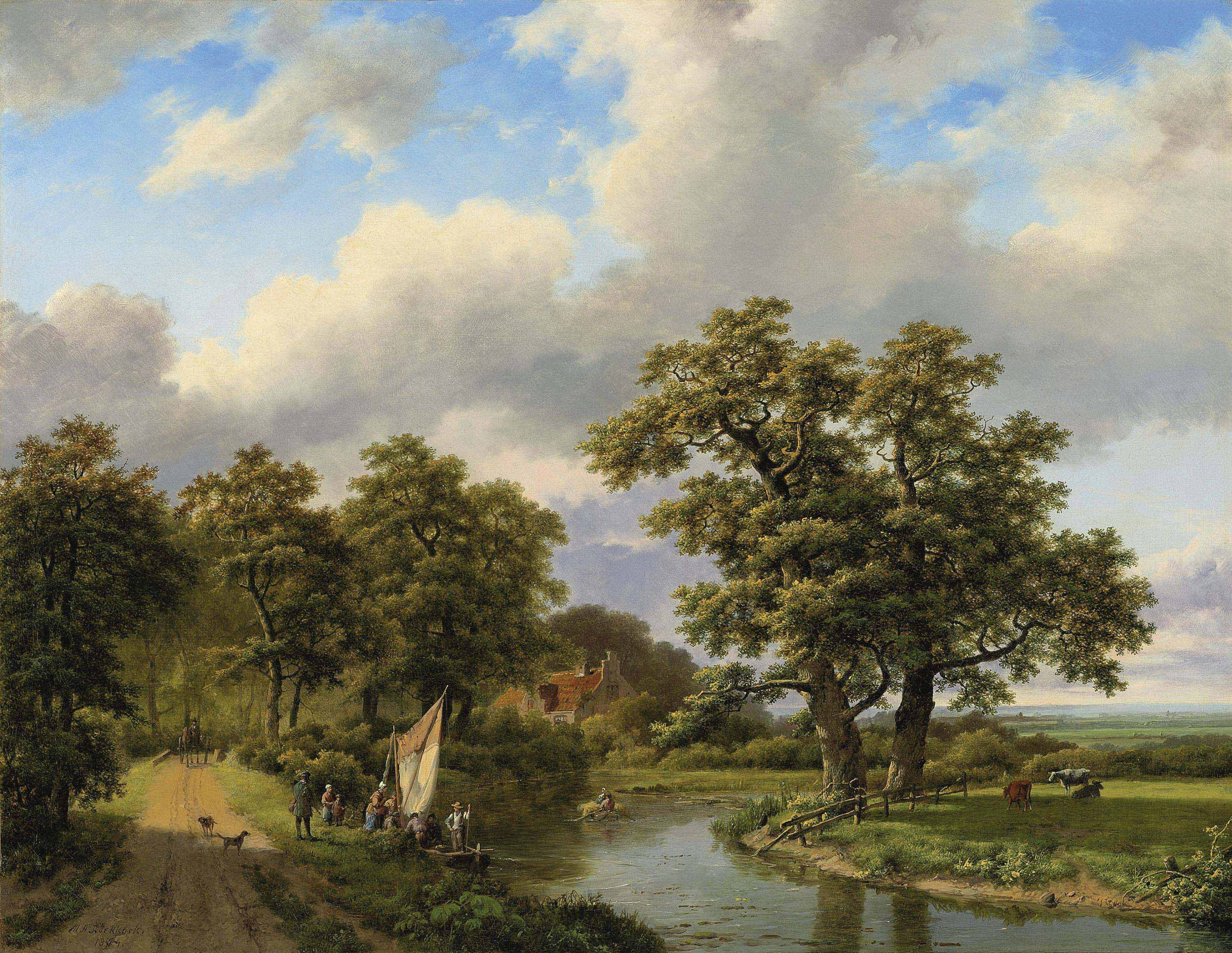 Wooded landscape with figures and cattle by a river