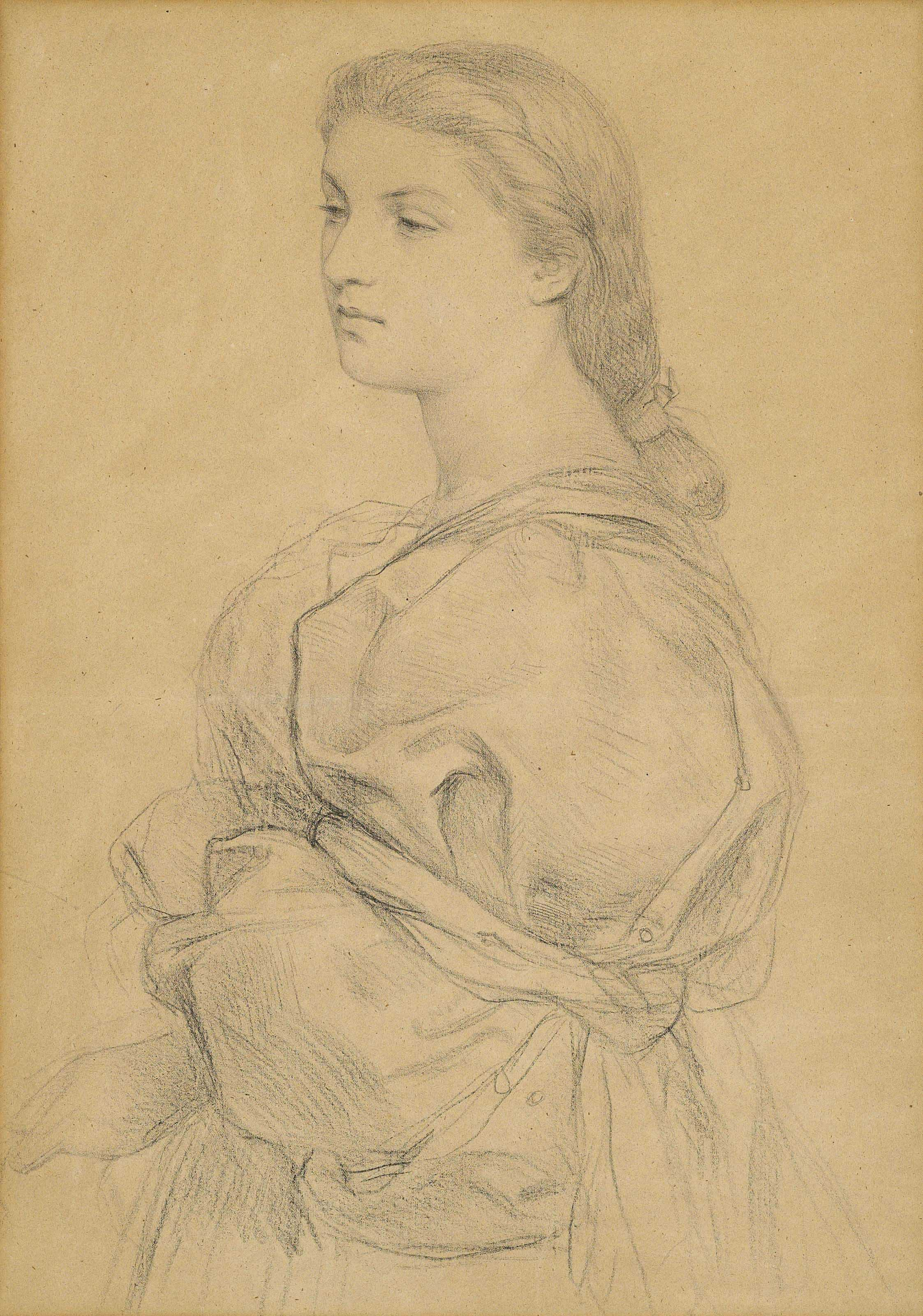 Portrait study of a young lady, half-length, facing to the left, probably for 'Cassandra Fedele'