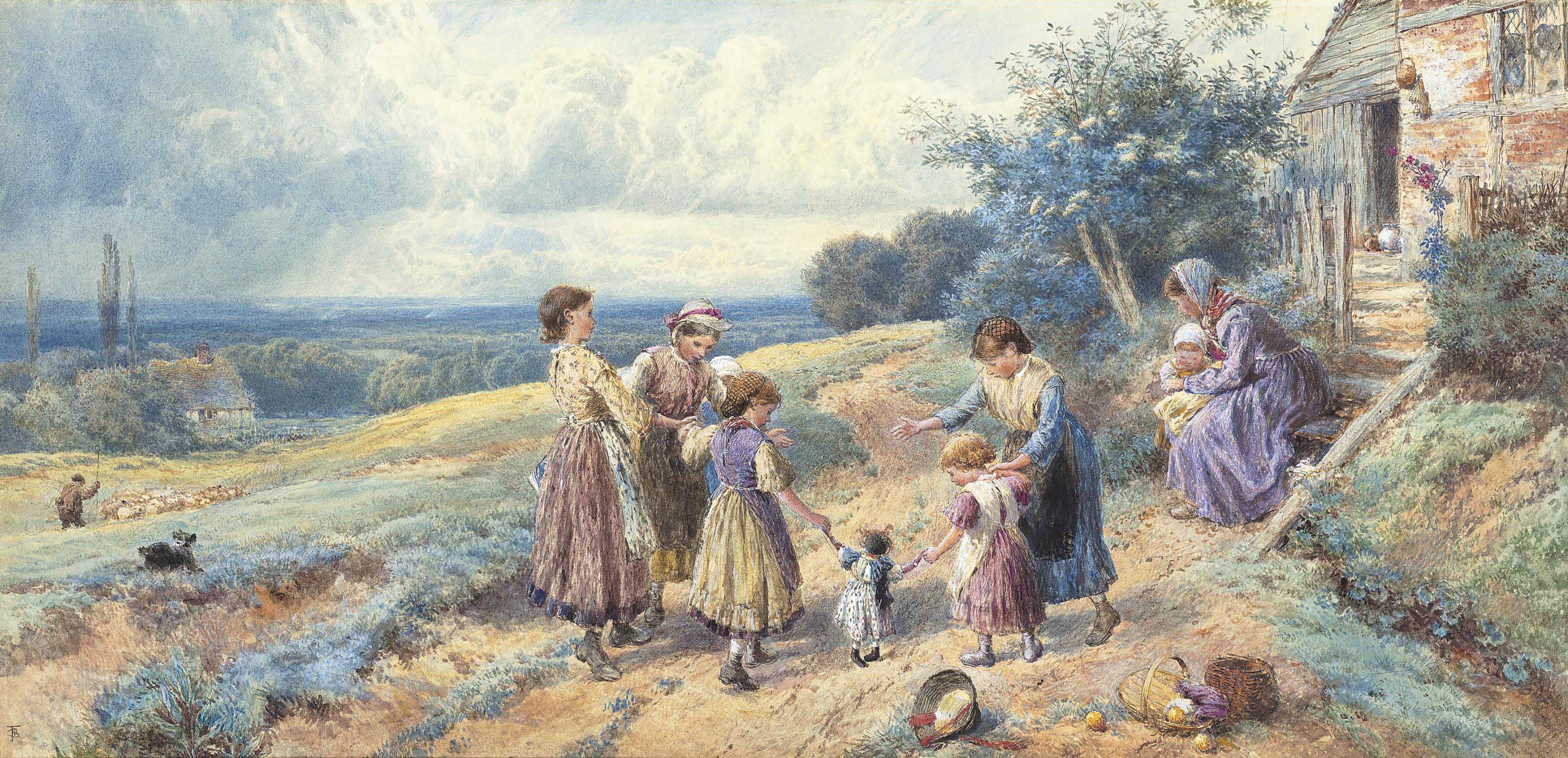Children playing outside a farmhouse, a shepherd with his flock of sheep beyond