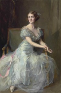 Portrait of Lady Illingworth, seated full-length, in a blue ball gown with pink ribbon