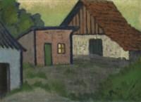 Drei Hütten, eine mit rotem Dach
