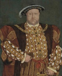 Portrait of King Henry VIII (1491-1547), three-quarter-length, in a fur-lined, gold-brocade cloak and doublet