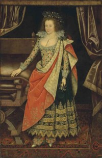 Portrait of Frances Howard, Countess of Hertford, later Duchess of Lennox and Richmond, full-length, in a masquerade dress, with a wreath of pansies in her hair