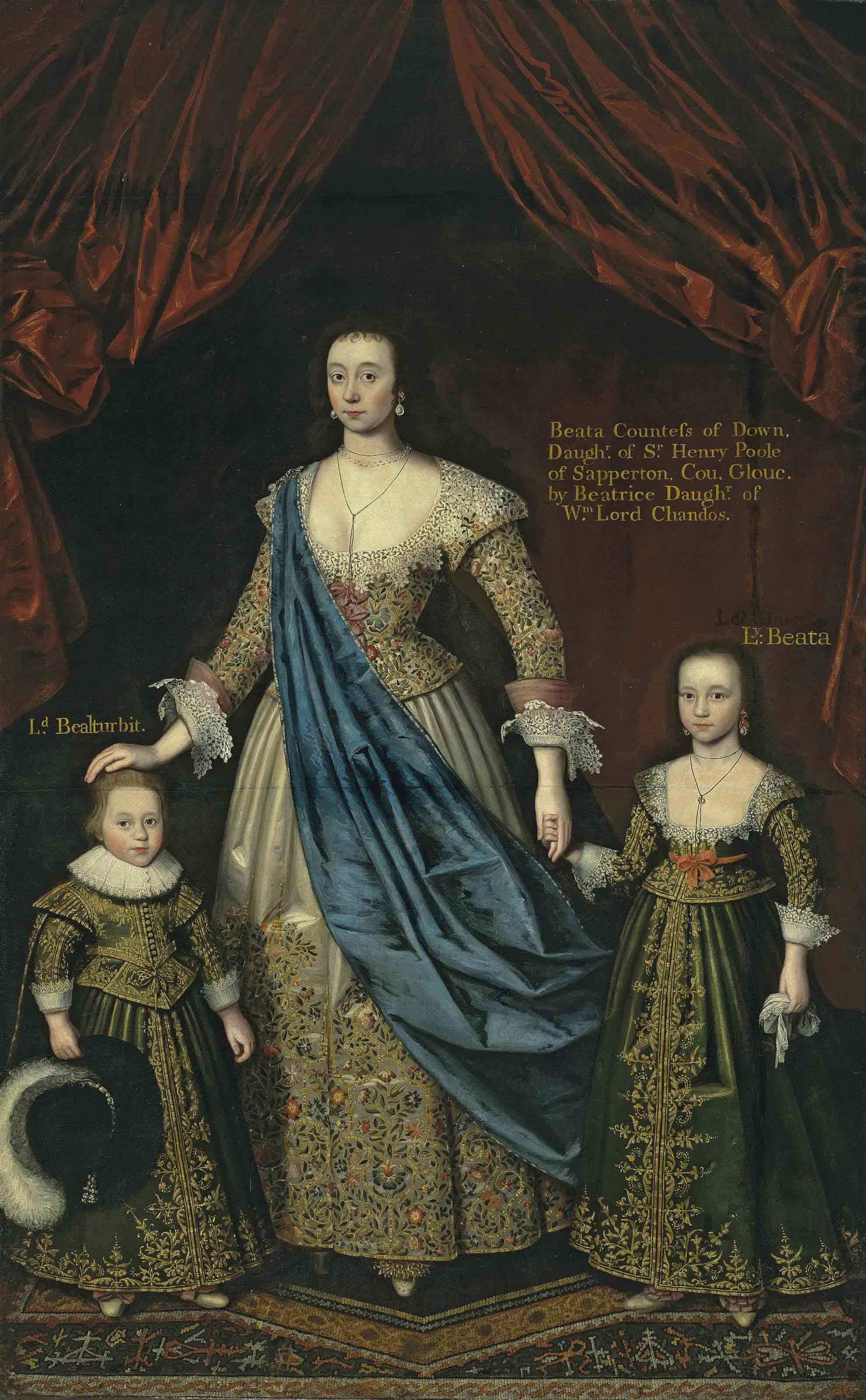 Triple portrait of a lady, thought to be Elizabeth, wife of Sir William Pope (1596-1624), with her children, full-length, in an interior